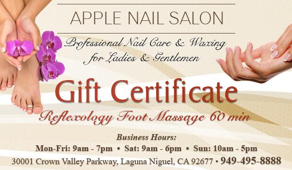 Reflexology Foot Massage 60 min - Gift Certificate - Apple ...