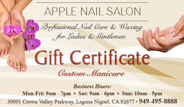 Custom Manicure - Gift Certificate - Apple Nail Salon