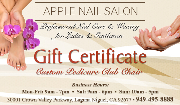 Custom pedicure club chair gift certificate apple nail for Free pedicure gift certificate template